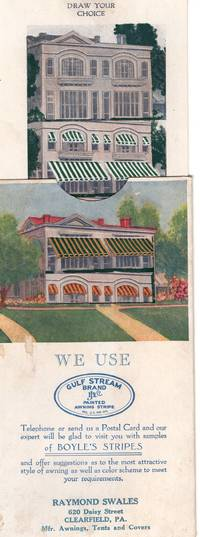 1926 Awning Ad, Sliding Card To Show Color Options:  'John Boyle's Gulf Stream Brand Painted Awning Stripe