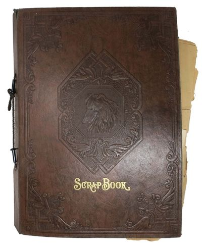 (various), 1947. Brown faux leather boards, tan thick paper leaves 2-hole punched, bound with brown ...