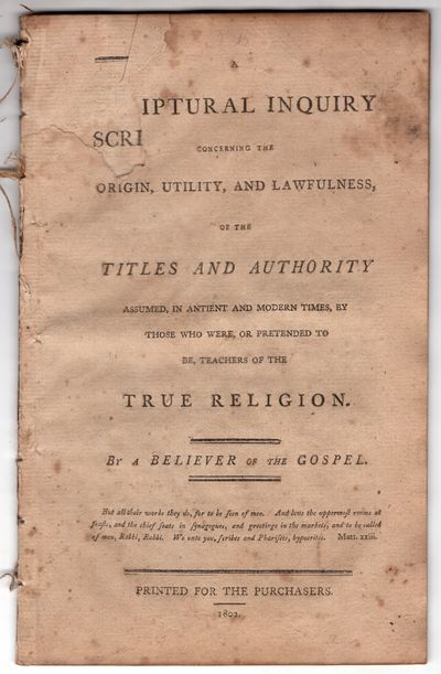 Boston : Printed for the Purchasers , 1802. First Edition. Pamphlet. Good. 32p., removed. rather ton...