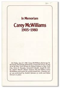 In Memoriam Carey McWilliams, 1905-1980