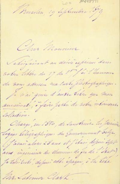 1879. Very Good. Vinchent, Julien (1822-87). A.L.s. to Latimer Clark. Brussels, September 19, 1879. ...