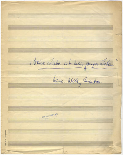 1958. Folio. (autograph title), - pp. Notated in blue ink in on 12-stave music paper. With occasiona...