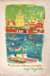 Roger Bezombes: carte de voeux pour 1960 et lithographie Originale