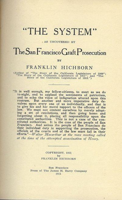 1915. HICHBORN, Franklin.