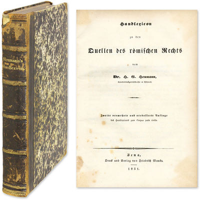 1851. Scarce German Dictionary of Roman Law Terms Heumann, ermann ottlieb. Handlexicon zum zu den Qu...