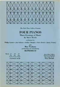 image of Four Pianos: Three Evenings of Music by Steve Reich at Park Place Gallery in New York City (Original poster for the 1967 performance)