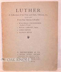London: G. Michelmore & Co, n.d.. self-paper wrappers. Luther, Martin. small 8vo. self-paper wrapper...