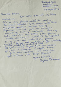 Autograph Letter Signed (Dylan Thomas), to producer Frank Hauser at the British Broadcasting...