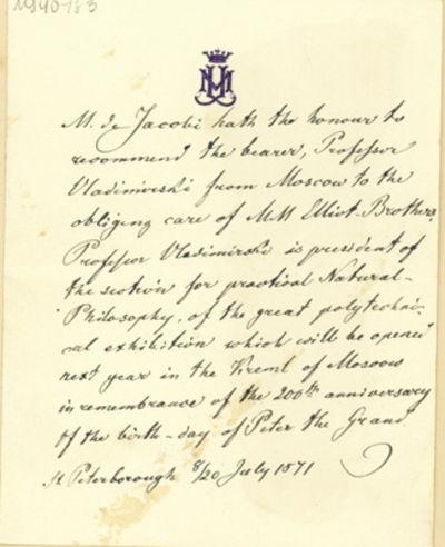 1871. Very Good. Jacobi, Moritz Hermann von (1801-74). A.L. to Elliot Brothers. St. Petersburg,