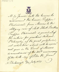 Autograph letter to Elliot Brothers