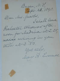 ALS, 1pp.; Bergen, NY, September 23, 1890, discussing her travel plans leaving Rochester and arriving in Medina, NY