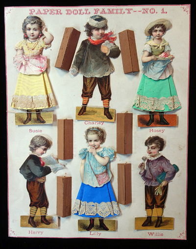 NY: McLoughlin Bros., 1875-76. A set of six (6) paper dolls created from embossed die-cut scraps wit...