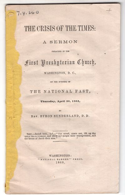Washington DC: National Banner Press , 1863. First Edition. Pamphlet. Good. 36p., + printed rear wra...