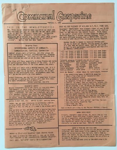 Oakland, 1980. Very good.. Broadsheet, 11 x 8.5 inches. Previously folded and mailed. Light wear. A ...