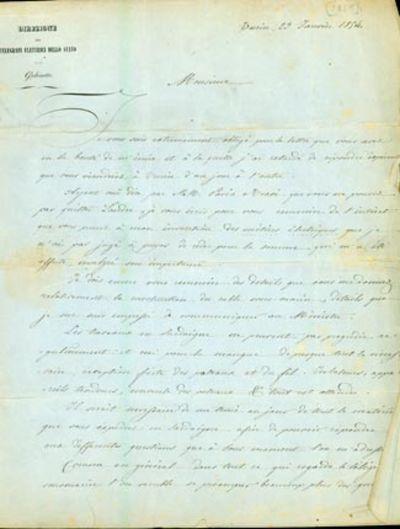 1854. Very Good. Bonelli, G. A.L.s. to John Brett (1805-63). Turin, January 23, 1854. 1- pp. plus in...