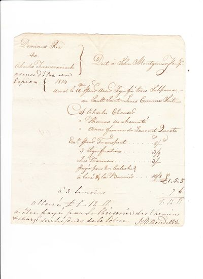: 19 August, 1814. Very Good/The Montreal politico, Canadian Party hack, lawyer and notary Jean-Mari...