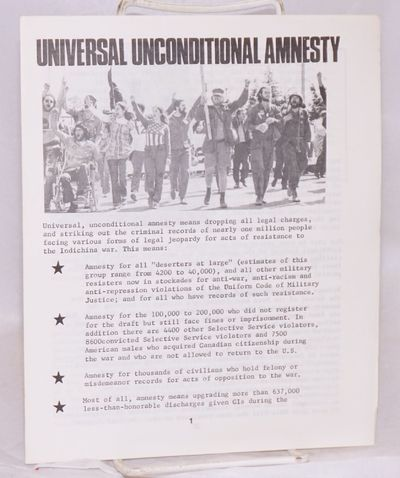 n.p.: Amnesty Committee of the East Bay chapter, Winter Soldier Organization, 1973. 6p., 7x8.5 inche...
