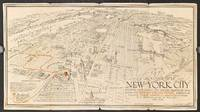 A Map of New York City showing how all Routes; rail, motor, bus, air & steamship conveniently lead travelers to the: Herald Square Hotel.  (Map title: An Aerial View of New York City).