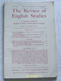 The Review of English Studies: New Series Vol.XVII, No.65, February 1966: a Quarterly Journal of...