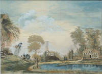 image of Silk & Watercolor Embroidered Landscape; A Woman and Child Playing by the Pastor's Pond