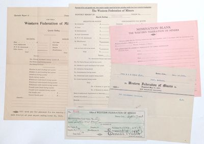 : the Union, 1915. Five documents, including a blank form for a local's quarterly report (8.5x11 inc...