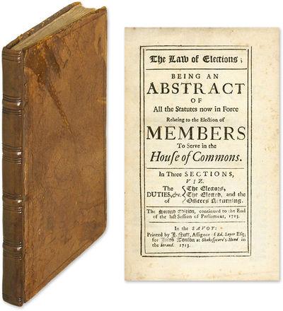 1713. London, 1713. 2d ed.. London, 1713. 2d ed. Scarce Eighteenth-Century English Treatise on Elect...