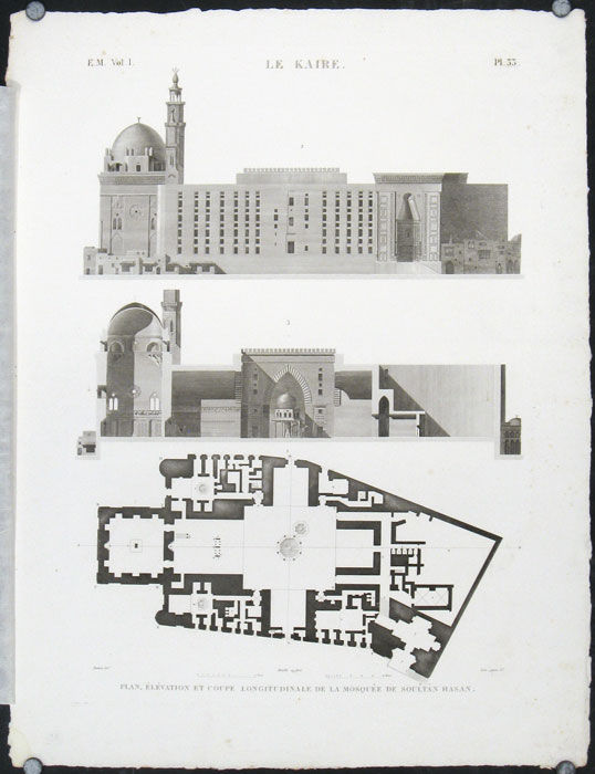 Plan Elevation Section Of Mosque : Le kaire plan elevation et coupe longitudinale de la