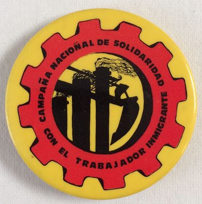 San Jose, CA, n.d.. 1.75 inch button, very good. Text arranged inside red machine cog design on yell...