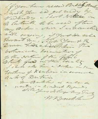 1836. Buckland, William (1784-1856). Autograph letter signed to Charles Stokes (1783-1853). N.p., 27...