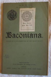 image of Baconiana, Volume 9, New Series, October 1901