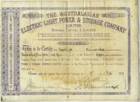 Australasian Electric Light, Power & Storage Company Share Certificates 1887