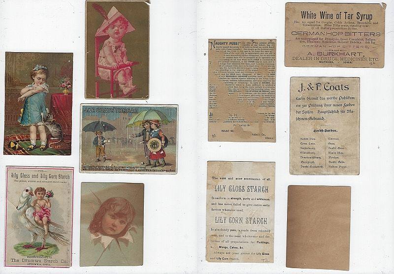 LOT OF FIVE SCRAP VICTORIAN TRADE CARDS, Advertisement