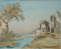 image of Silk & Watercolor Embroidered Landscape; Ancient Ruins and Farm Buildings at Dawn