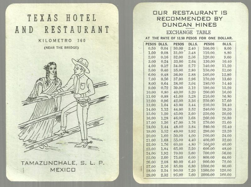 VINTAGE ADVERTISING CARD FOR THE TEXAS HOTEL AND RESTAURANT, TAMAZUNCHALE, MEXICO, Advertisement