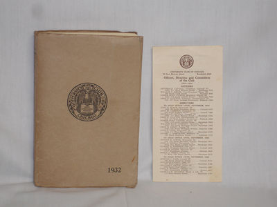Chicago: Club House, 1932. Paper Monograph. Very Good. 12mo - over 6¾