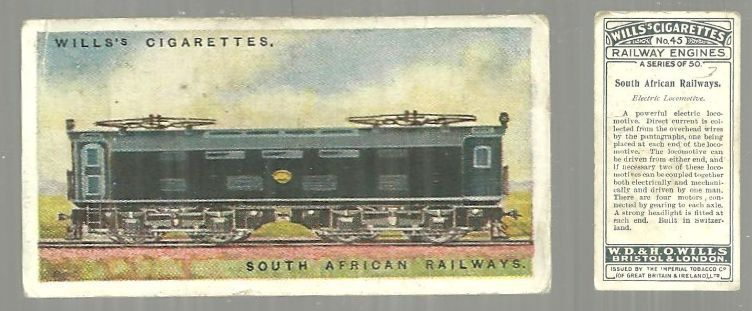 VINTAGE WILLS' CIGARETTE CARD FOR SOUTH AFRICAN RAILWAYS, Advertisement