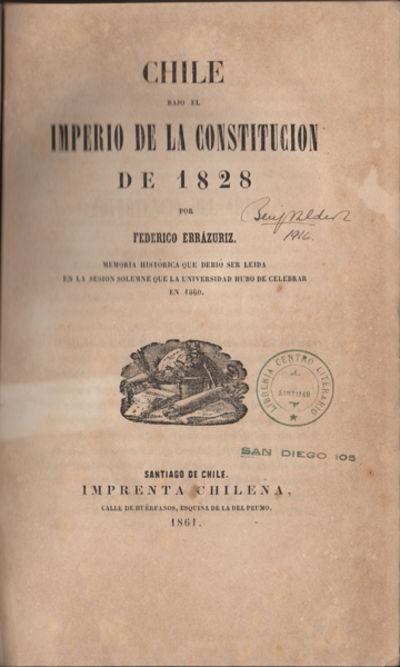 Santiago de Chile: Imprenta Chilena, 1861. First edition. Three quarter morocco over marbled boards,...