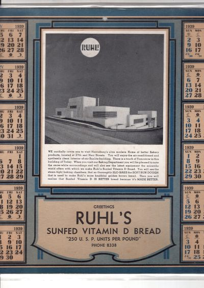 Pennsyvania, 1939. Card. Fine. Large format annual calendar with individual months and large b/w pho...
