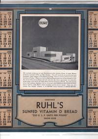 1939 Ruhl's Sunfed Vitamin D Bread Calendar with Deco/Modernist Factory Building and  Logo
