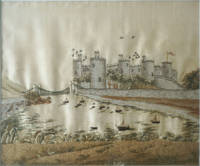 image of Crewel and Silk Embroidered Landscape; Conway Castle, North Wales with the  Suspension Bridge