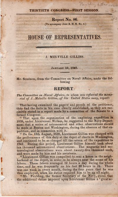 Washington DC: Committee on Naval Affairs, 1848. Pamphlet. Very good. 7pp. Report detailing compensa...