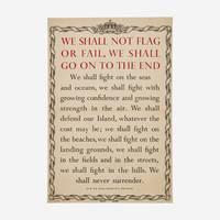 "Winston S. Churchill ""We Shall Fight on the Beaches"" June 4, 1940 Speech Broadside."
