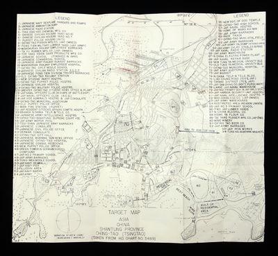 World War II, WWII, Japan, China, Pacific Theater, Qingdao, Tsingtao), Ch'ing-Tao, target, bomb Gene...
