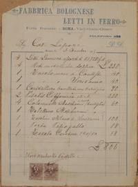 FABBRICA BOLOGNESE LETTI IN FERRO ROMA 3 DICEMBRE 1905