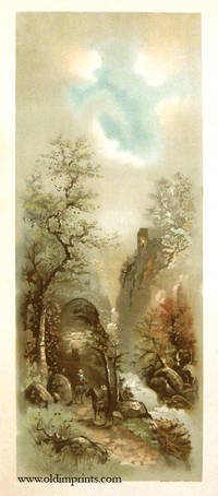 Untitled landscape of three men on horses riding though a heavily treed canyon