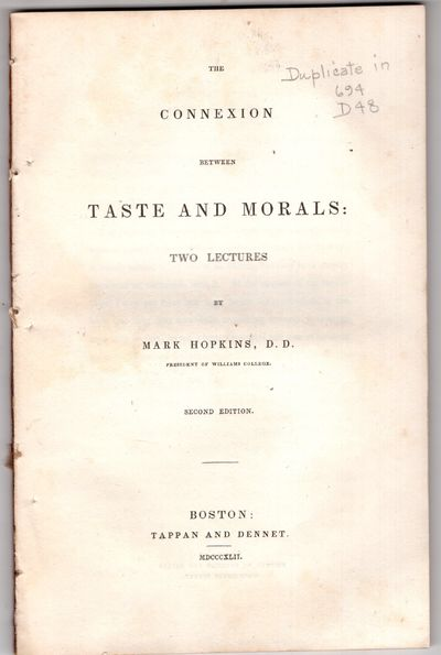 Boston: Tappan and Dennet, 1842. Second Edition. Pamphlet. Very good. 63p, removed. Lectures I and I...