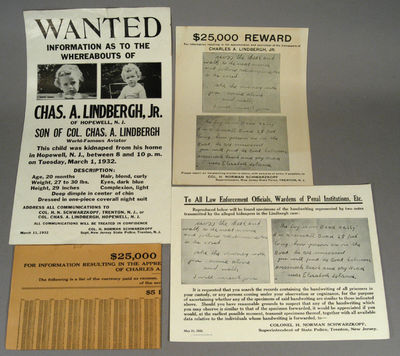 1932. FOUR ORIGINAL LINDBERGH BABY ABDUCTION REWARD POSTERS. US Government Printing Office, 1932/New...