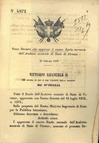 che approva il nuovo Ruolo normale dell\'Archivio centrale di Stato di Firenze.
