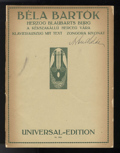 Wien-New York: Universal Edition , 1921. Quarto. Original publisher's dark ivory wrappers printed in...