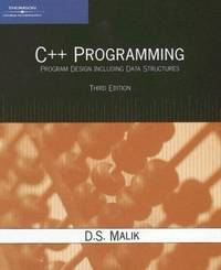 C++ Programming : Program Design Including Data Structures by D. S. Malik - Paperback - 2006 - from ThriftBooks (SKU: G1418836400I3N10)